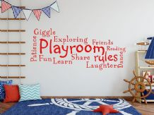 'Playroom Rules' Wall Art Quote, Decal, Modern Transfer